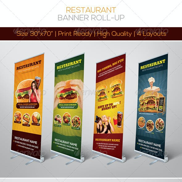 Premium Restaurant Banner Roll-up