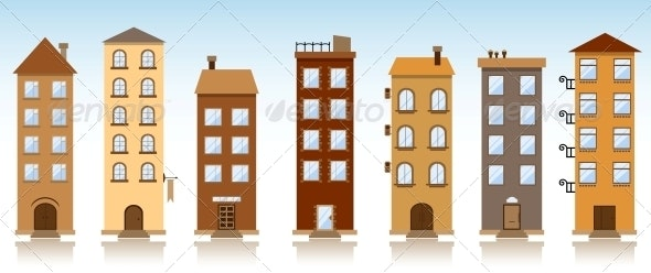 Seven Vector Buildings - Buildings Objects