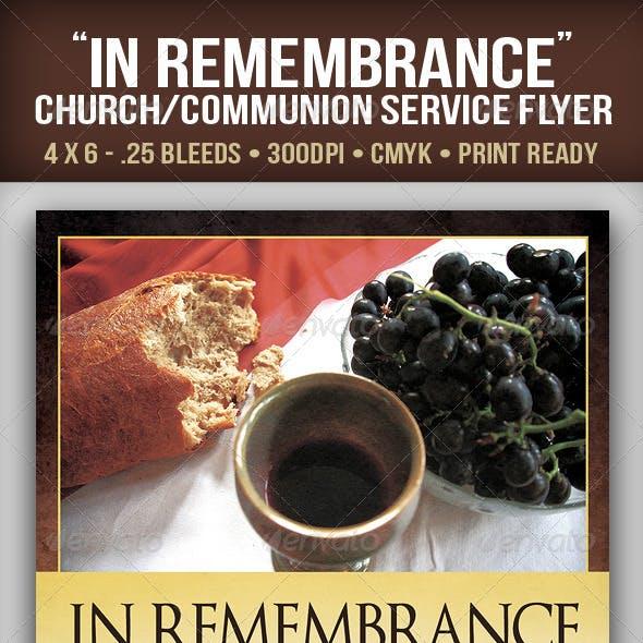"""""""In Remembrance"""" Church/Communion Service"""