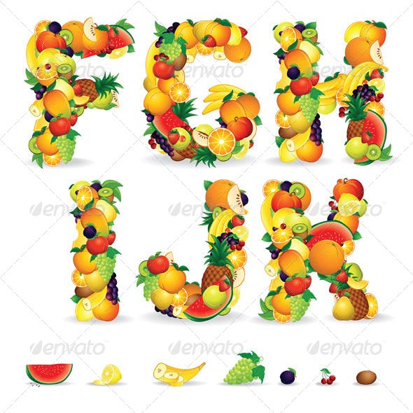 Colorful Letters from Fruits. Vector Clip Art