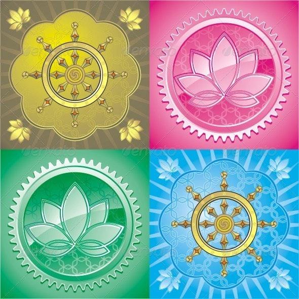 Lotus And Dharma. Set Of Colorful Vector Graphics. - Decorative Symbols Decorative