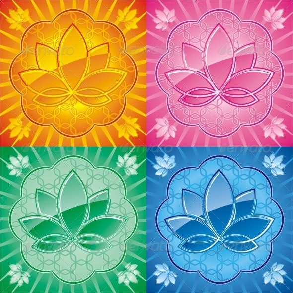 Lotus. Set Of Colorful Vector Graphics. - Decorative Symbols Decorative