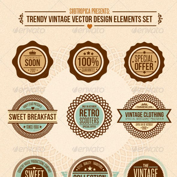 Trendy Vintage Vector Design Elements Set