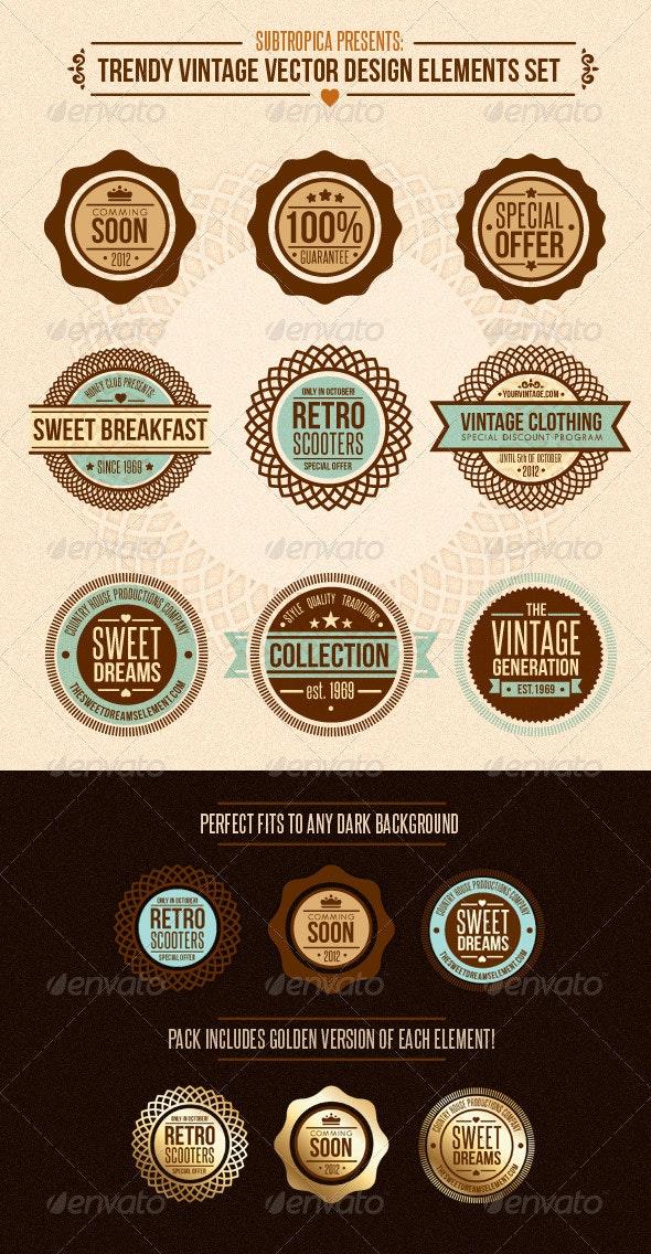 Trendy Vintage Vector Design Elements Set - Retro Technology