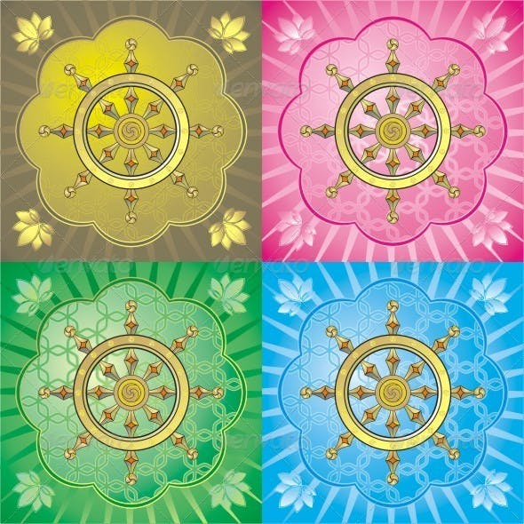 Dharmacakra. Set Of Colorful Vector Graphics.