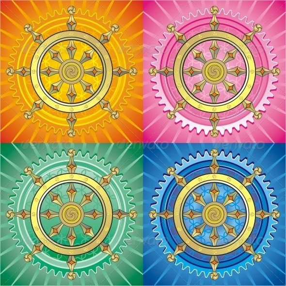 Dharmacakra. Set Of Colorful Vector Graphics. - Decorative Symbols Decorative