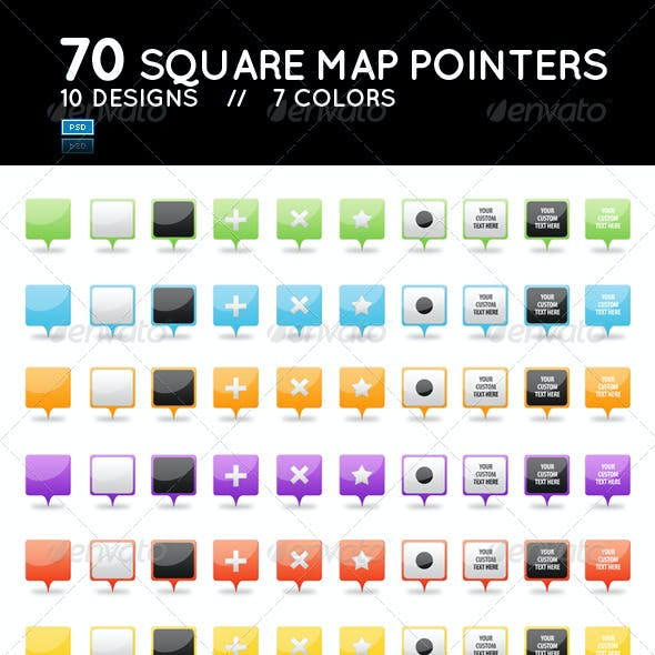 Set of 70 Glossy Square Web 2.0 Map Pointers