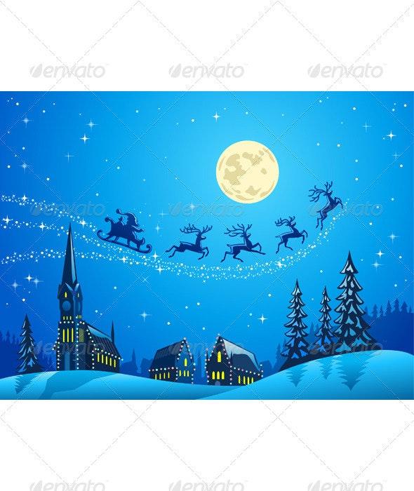 Santa Into the Winter Christmas Night - Christmas Seasons/Holidays
