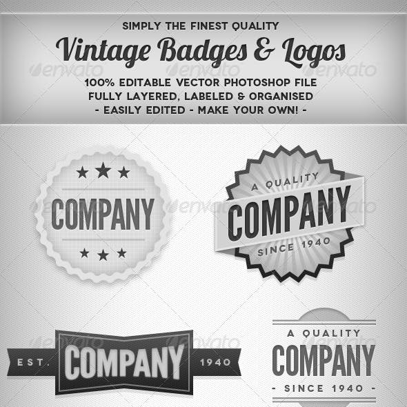 Vintage Blank & White Badges