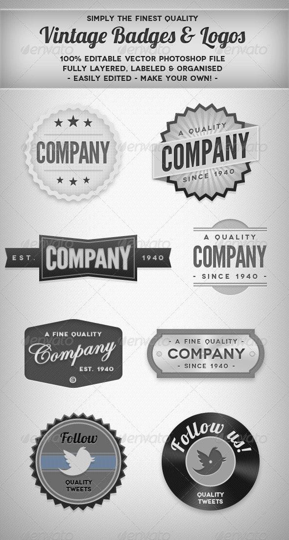 Vintage Blank & White Badges - Badges & Stickers Web Elements