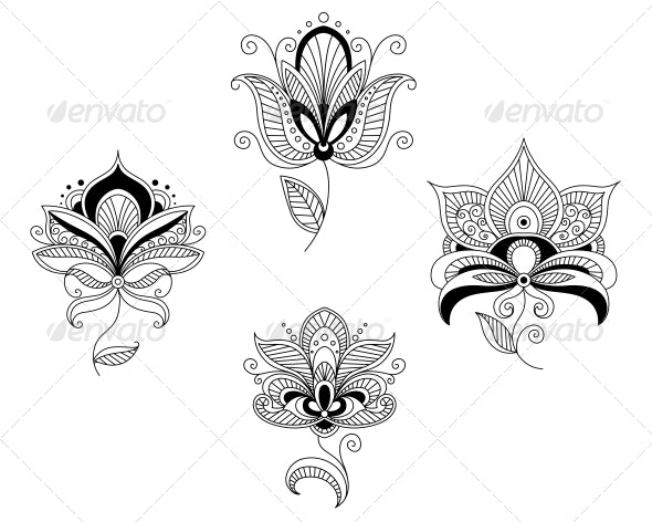 Set of Abstract Floral Blossoms - Flourishes / Swirls Decorative