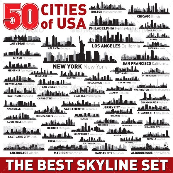The Vector City Skyline Set 50 USA Cities - Buildings Objects
