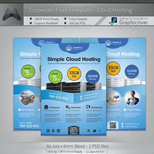 Cloud Hosting Service - A4 Flyer Template