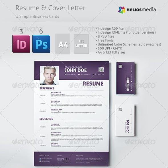 Modern Resume & Cover Letter & Business Cards