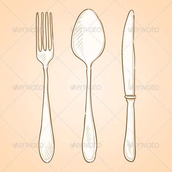 Rough Cutlery Illustration