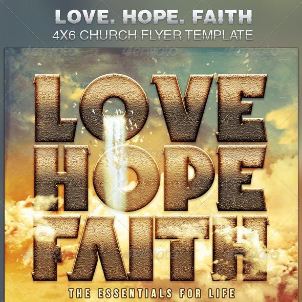 Love Hope Faith Church Flyer Template