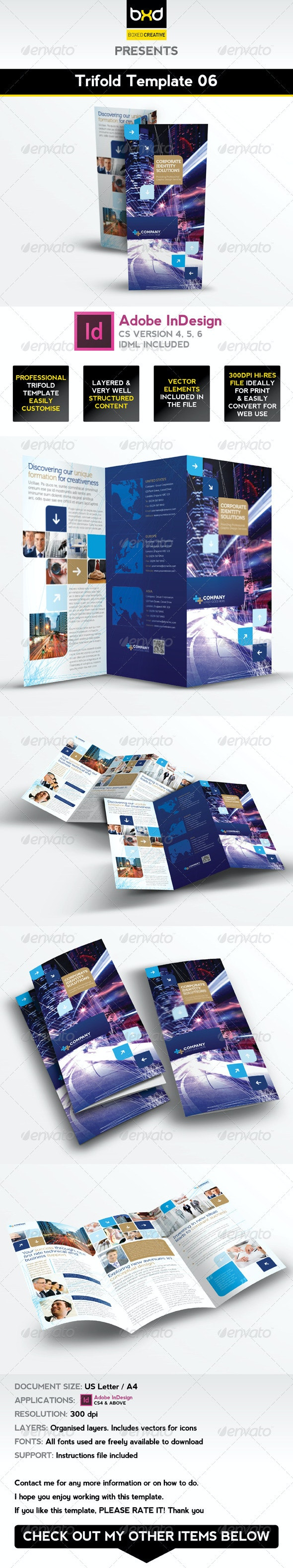 Trifold Brochure Template 06 - InDesign Layout - Corporate Brochures