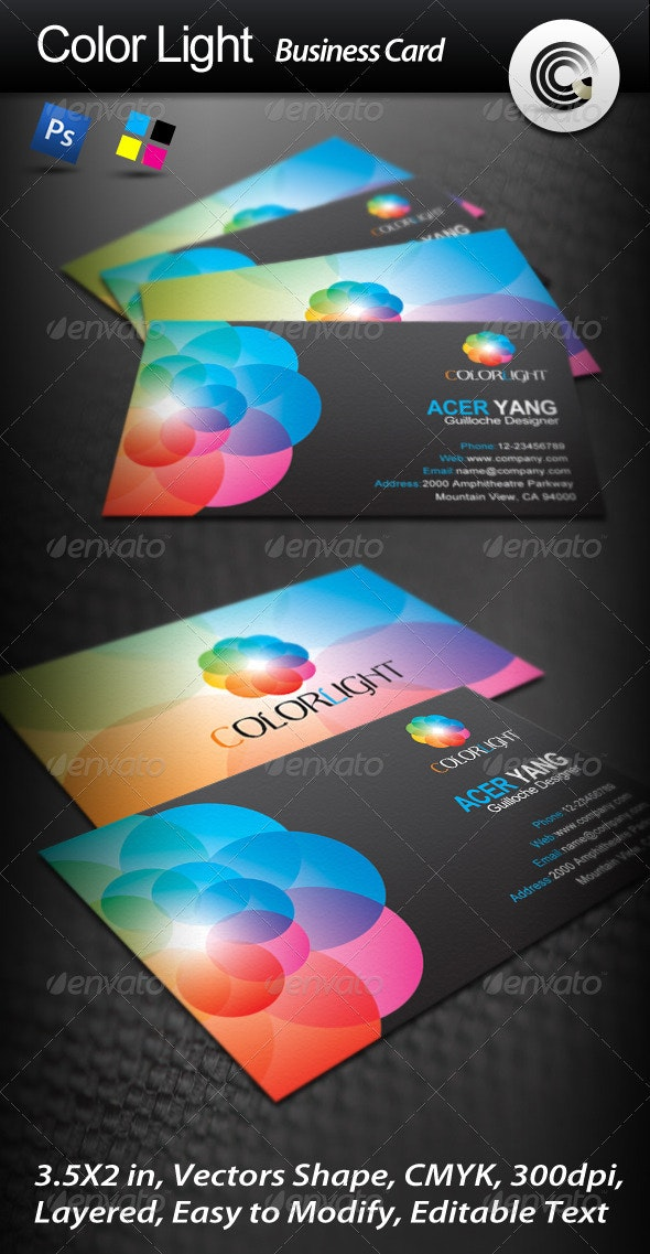 Color Light Business Card - Business Cards Print Templates