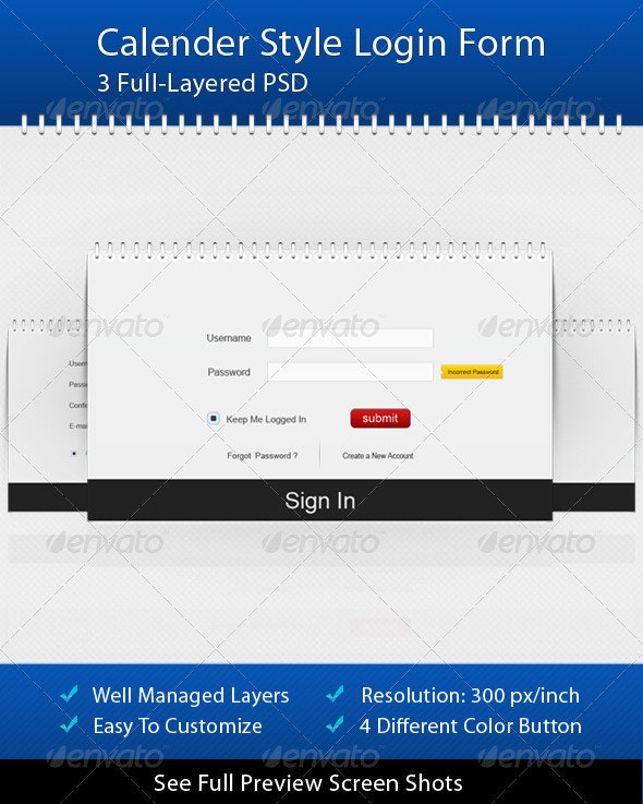 Calender Style Login Form - Forms Web Elements