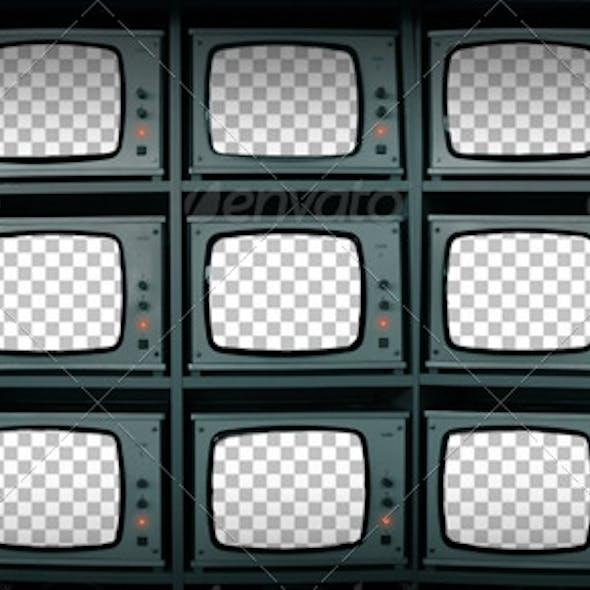 CCTV Monitors Cut-Out Screens