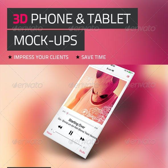 3D Phone & Tablet Mock-Ups