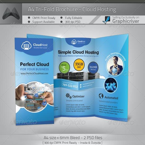 Cloud Hosting Service - Tri-Fold Brochure Template
