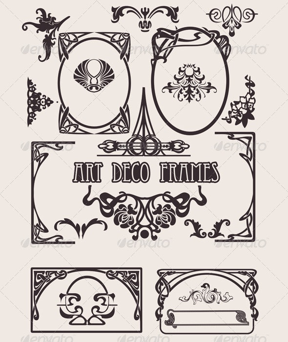 Four Black And White Art Deco Frames. - Retro Technology