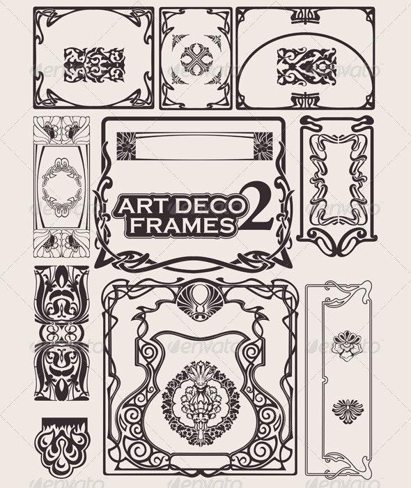 Set Of Art Deco Frames. Others In Portfolio. - Retro Technology