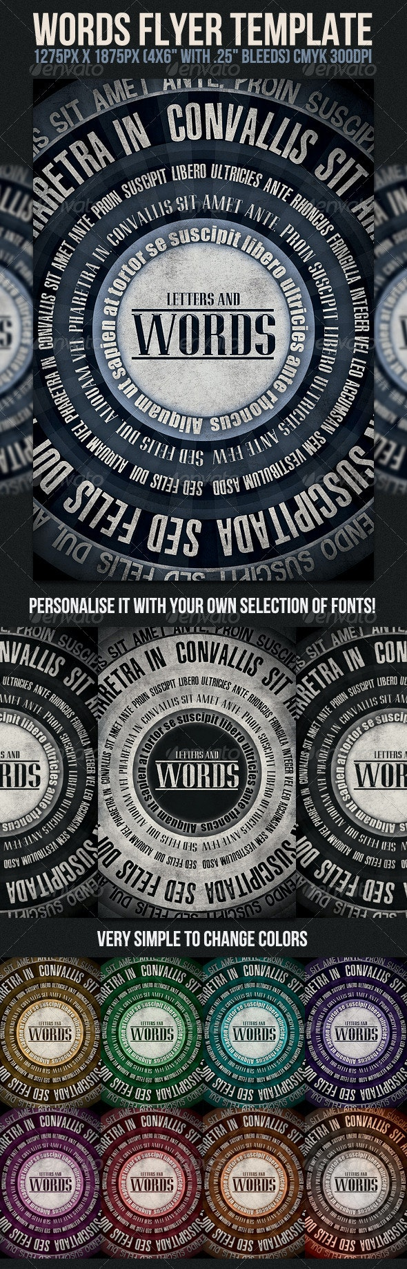 Words Flyer Template - Clubs & Parties Events