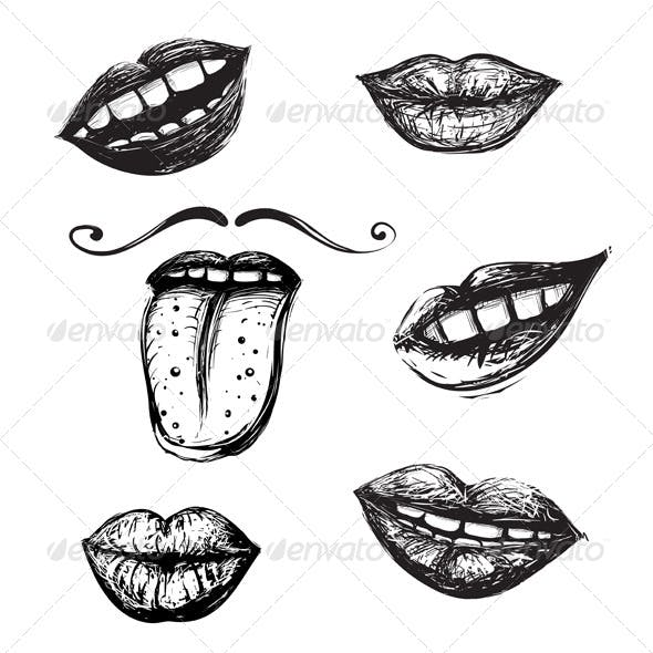 Smile and Mouth Drawing Collection
