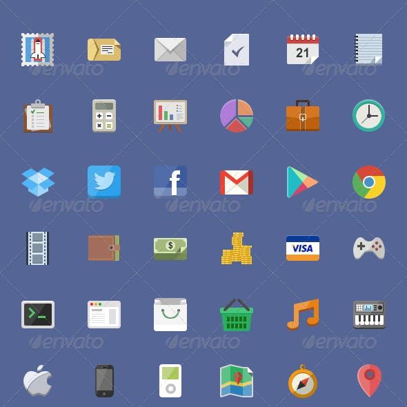 450+ Flat Icons Set