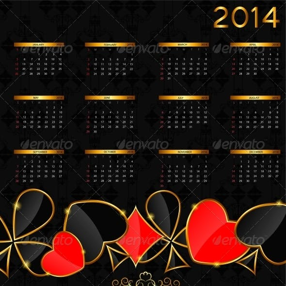 2014 New Year Calendar in Poker Theme