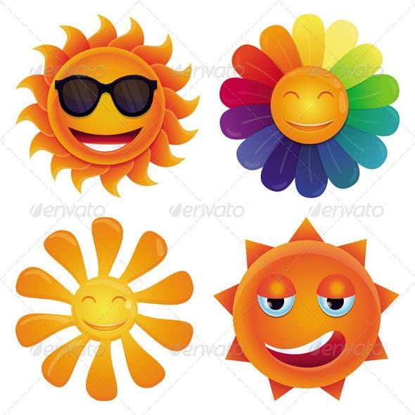 4 Vector Cartoon Sun Icons