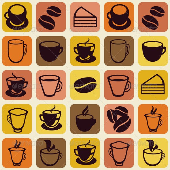 Vector Seamless Pattern with Tea and Coffee Cups