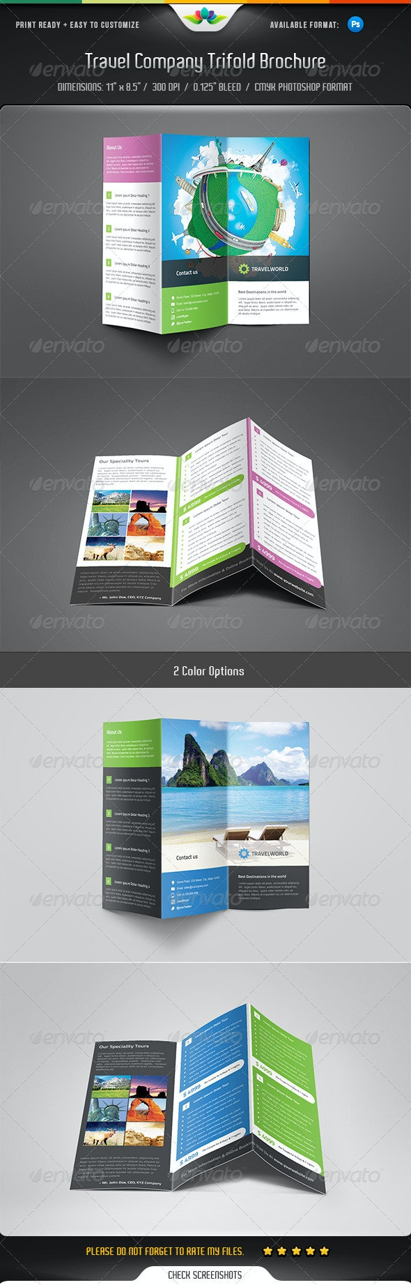 Travel Company Trifold Brochure  - Corporate Brochures