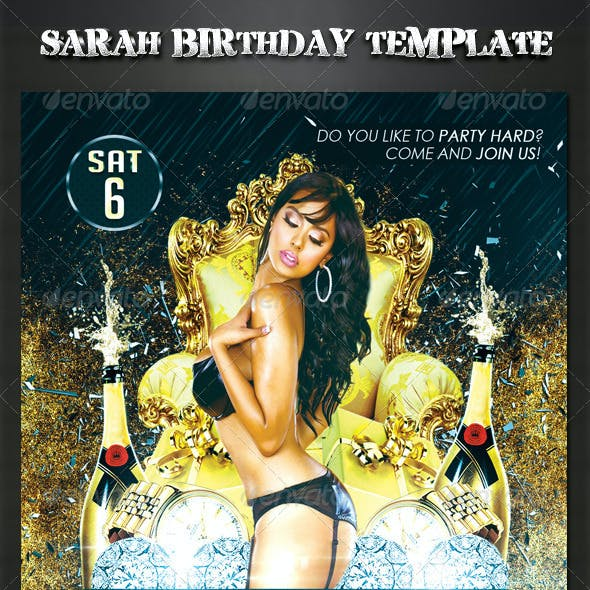 Sarah Birthday Party Flyer Template