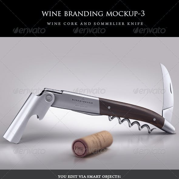 sommelier knife and wine cork mock-up
