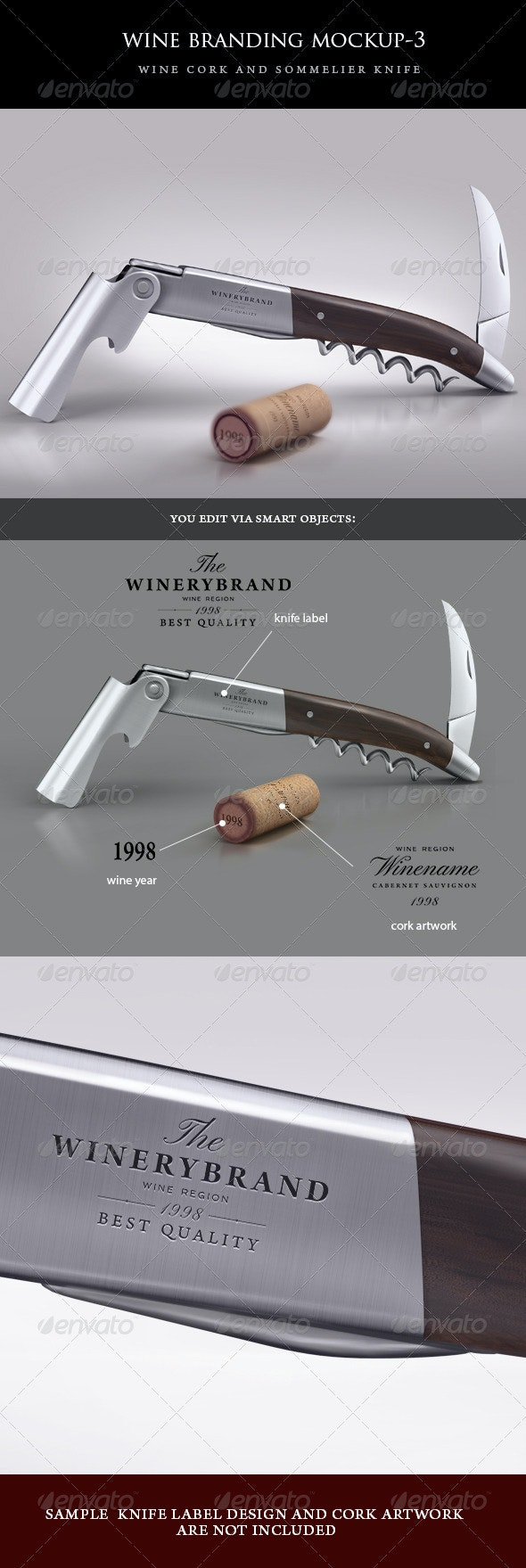sommelier knife and wine cork mock-up - Food and Drink Packaging