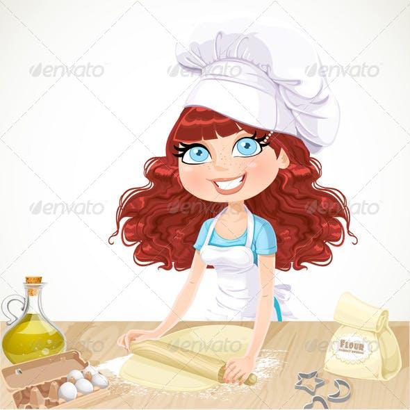 Curly Hair Girl Baking Cookies
