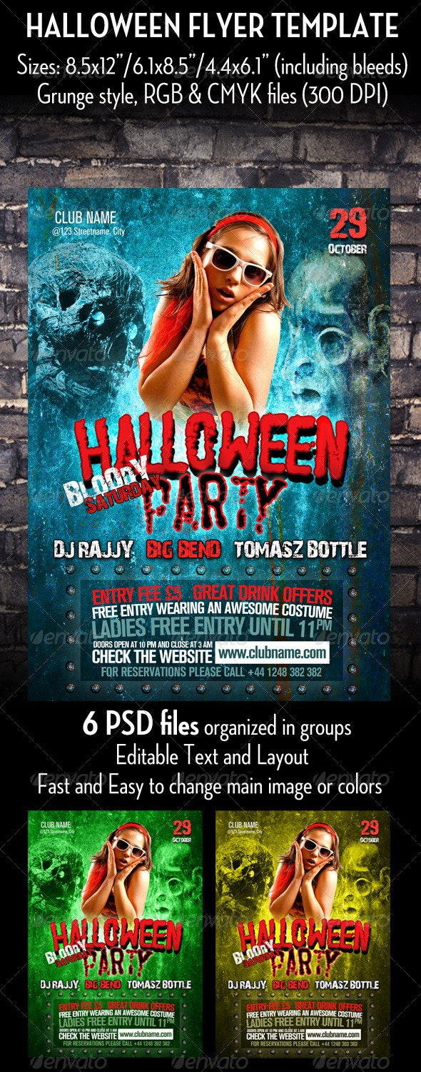 Grunge Halloween Flyer Template - Clubs & Parties Events