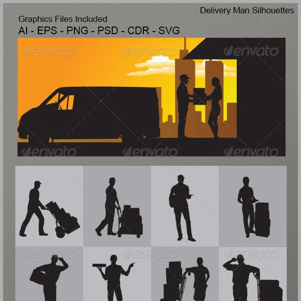 Delivery Man Silhouettes