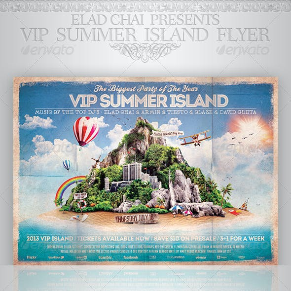 VIP Summer Island Beach Flyer Template