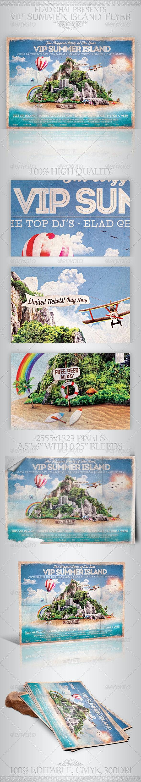 VIP Summer Island Beach Flyer Template - Clubs & Parties Events