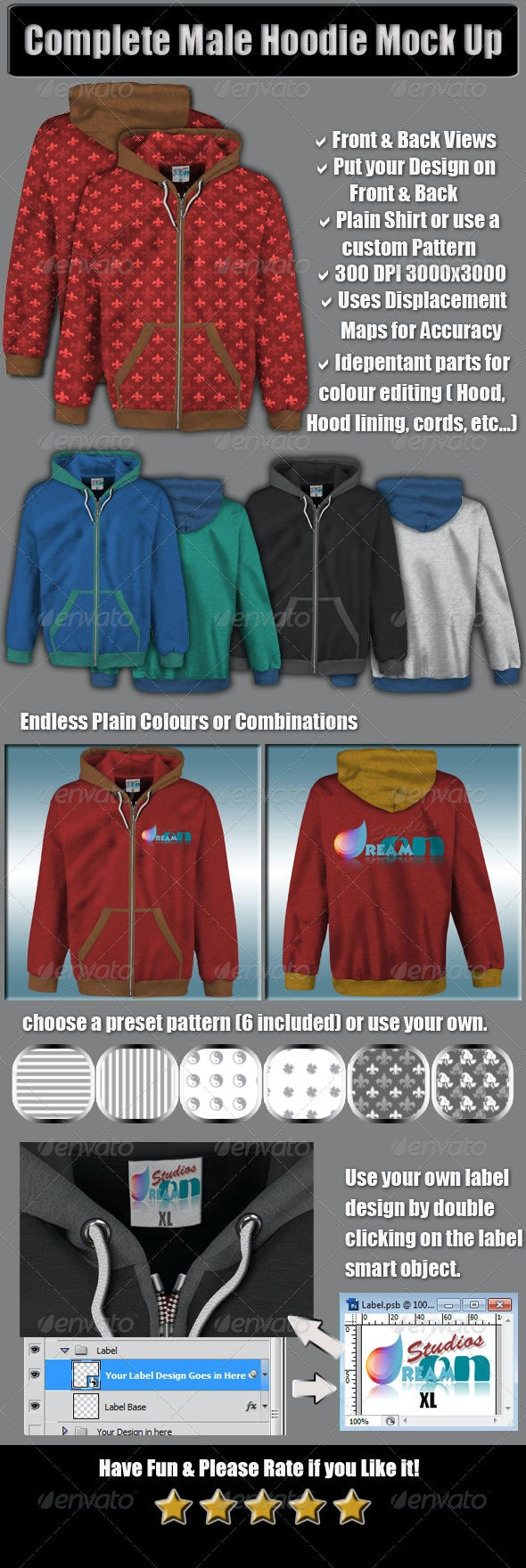 Complete Male Hoodie Mock Up - Miscellaneous Apparel