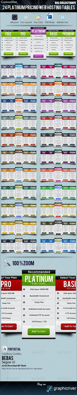 24 Platinum Pricing Web Hosting Tables