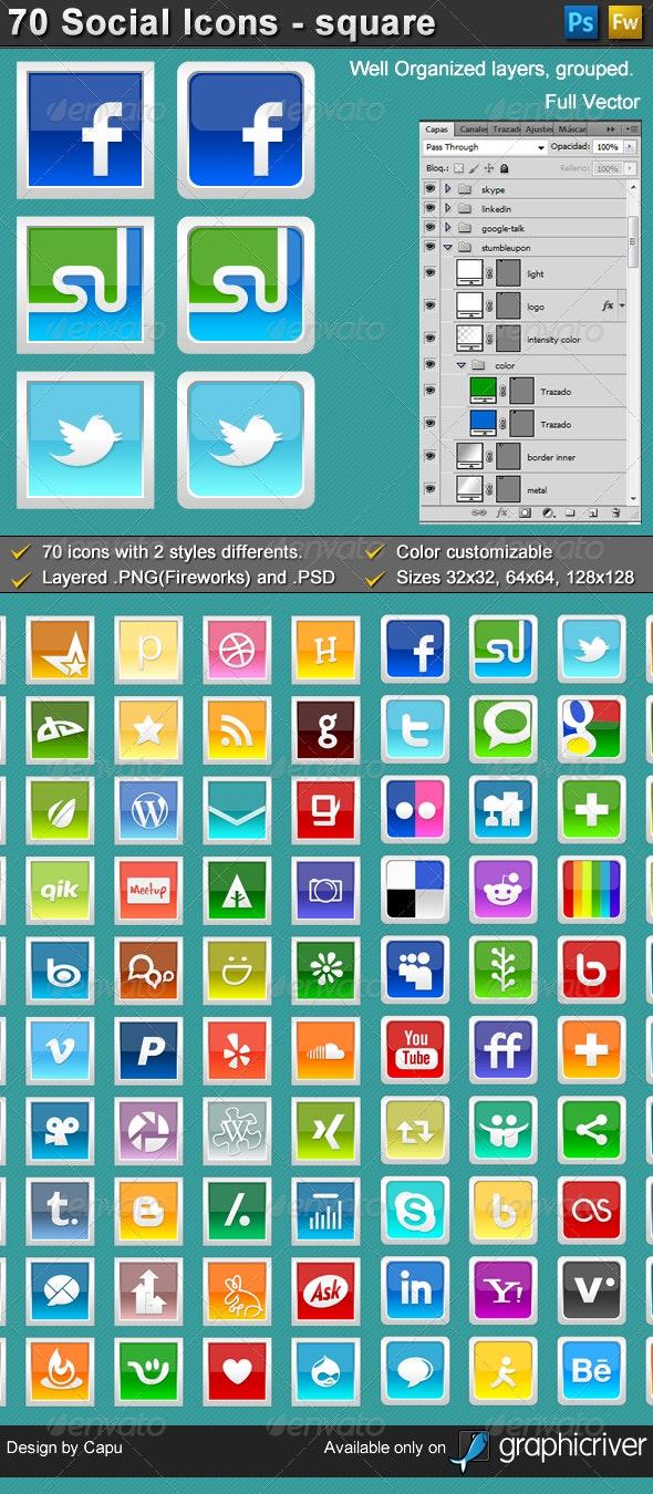70 Social Media Icons - Square, 2 styles - Web Icons