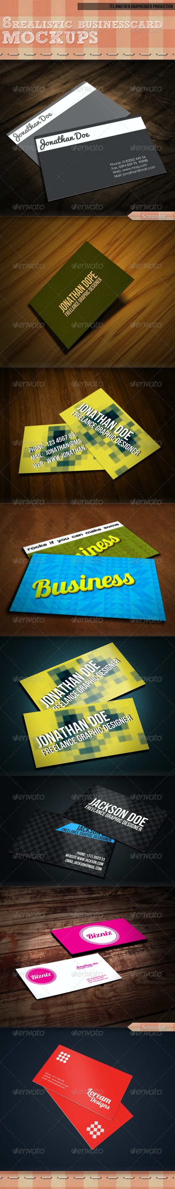 8 Realistic Business Card Mock-up - Business Cards Print