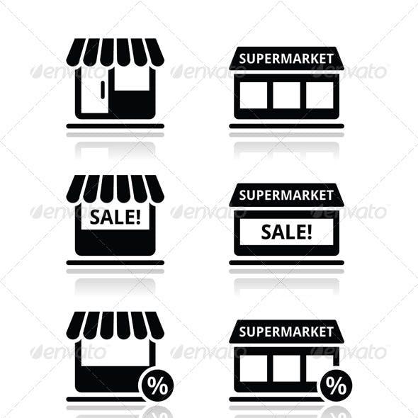 Single Shop / Store, Supermarket Vector Icons Set