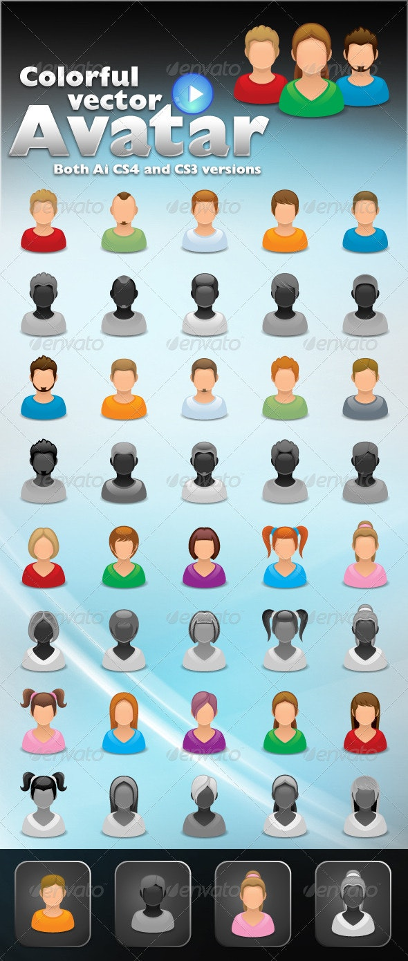 Colorful Avatar Vector  - People Characters