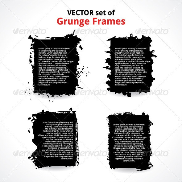 Vector Set of Grunge Frames - Borders Decorative